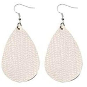 BOGO White Faux Leather Earrings